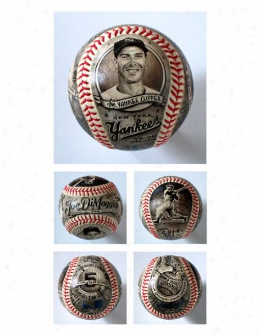 Joe Dimaggio New York Yankees Hand Painted Baseball - By Mike Floyd