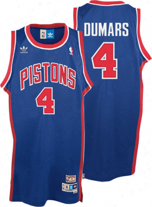 Joe Dumars Jersey: Adidas Blue Throwback Swingman #4 Detroit Pistons Jersey