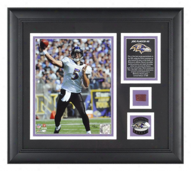Joe Flacco Baltimore Ravens Frameed 8x10 Photograph With Plan Used Football Piece And Medallion