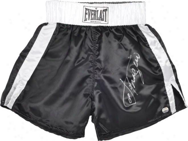 Joe Frazier Autographed Boxing Trunks  Details: Blwck, Everlast