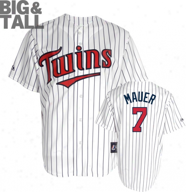 Joe Mauer Big & Tall Jersey: Adult Home White Replica #7 Minnesota Twins Jersey