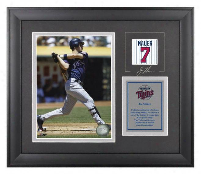 Joe Mauer Framed 6x8 Phoyograph  Details: Minnesota Twins, With Facsimile Signature