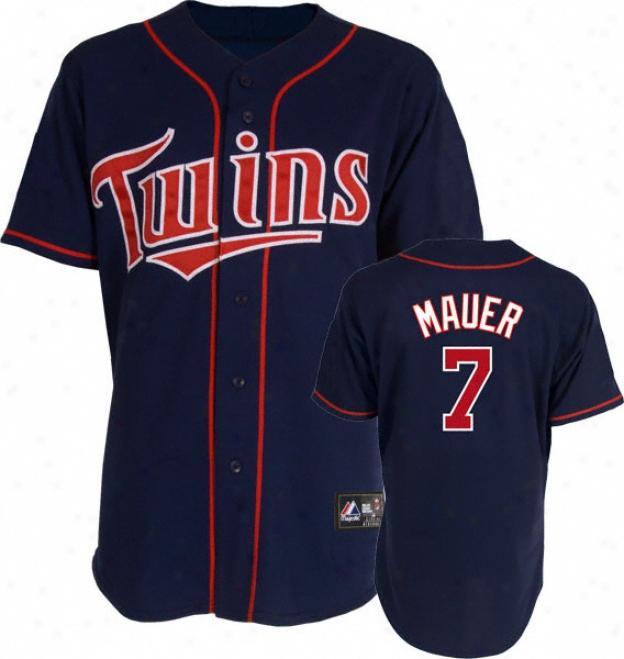 Joe Mauer Jersey: Adult Majestic Alternate Navy Autograph copy #7 Minnesota Twins Jersey