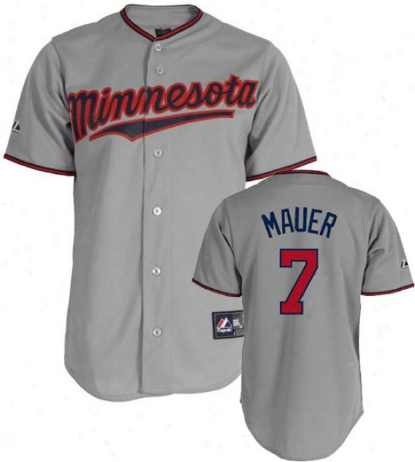 Joe Mauer Jersey: Adult Majestic Road Gfey Replica #7 Minnesota Twins Jersey
