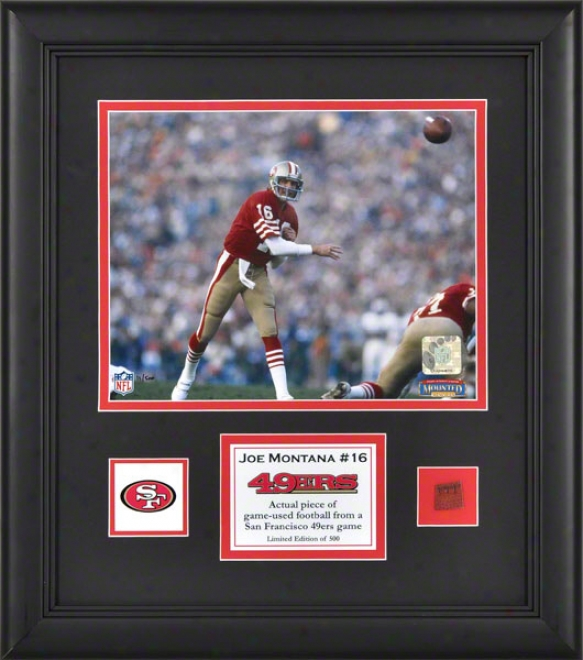 Joe Montana Framed 8x10 Photograph  Details: San Francisco 49ers, With Game Used Footbqll Piece And Descriptive Plate