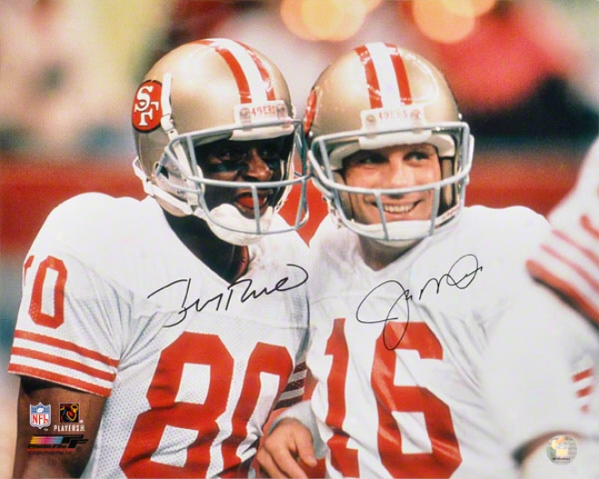 Jie Montana & Jerry Rice San Francisco 49ers Autographed Ph0tograph