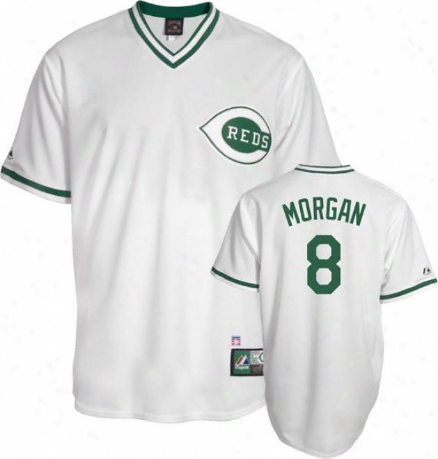 Joe Morgan Cincinnati Reds White/green Cooperstown Replica Jersey