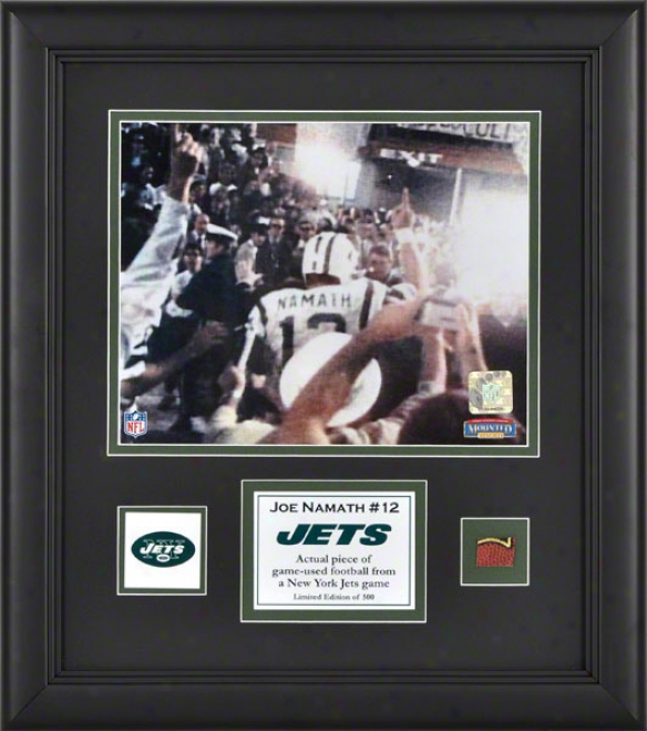Joe Namath Framed 8x10 Photograph  Details: New York Jets, With Game Used Football Piece And Descriptive Plate