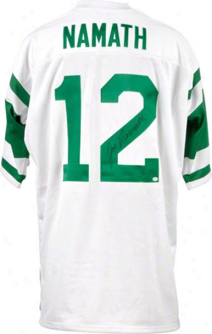 Joe Namath New York Jets Autographeed Super Bowl Iii 1969 Jets Patch Mitchell And Ness Throwback Jersey