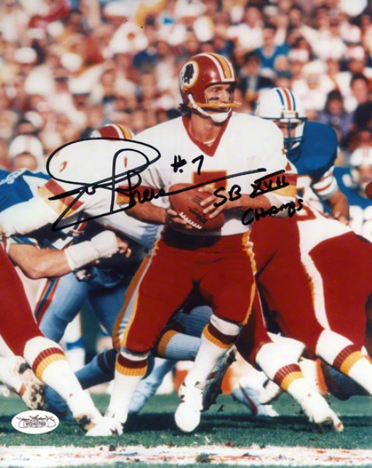 Joe Theismann Autogarphed 8x1 0Photograph  Details: Washington Redskins, With &quotsb Xvii Champs&quot Inscription