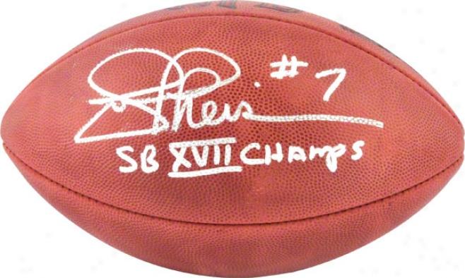 Joe Theismann Ajtographed Football  Details: Washington Redskins, Pro Football, Super Goblet Xvii Champps Inscription