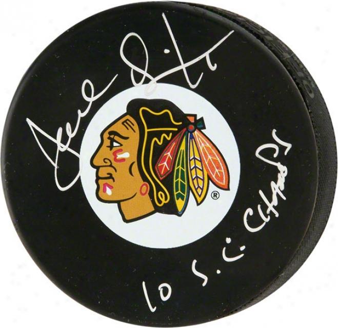 Joel Quenneville Autographed Puck  Details: Chicago Blackhawks Logo Puck, 10 Sc Champs Inscription
