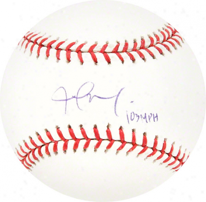 Joel Zhmaya Autogrqphed Baseball  Details: 103 Mph Inscription