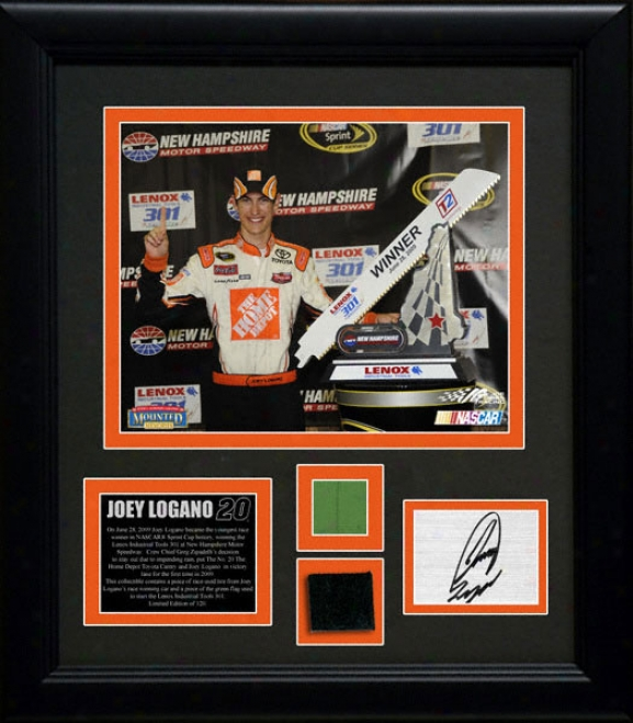 Joey Logano 2009 New Hampshire Race Framed 8x10 Photograph With Gr3en Flag And Race Winning Tire Le Of 120