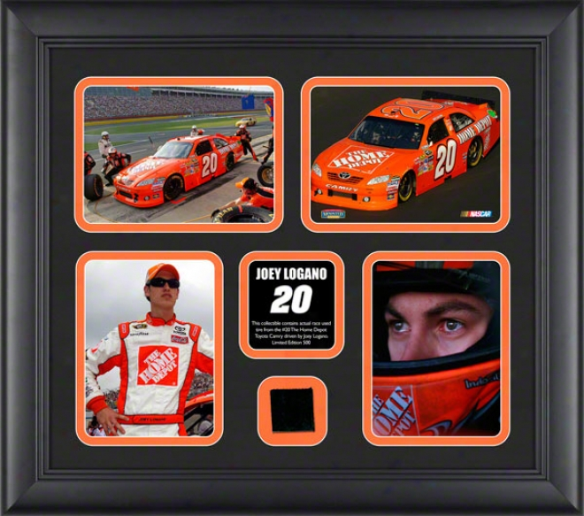 Joey Logano Framed 4-photograph Collage  Details: 2011 With Race Ussd Tire