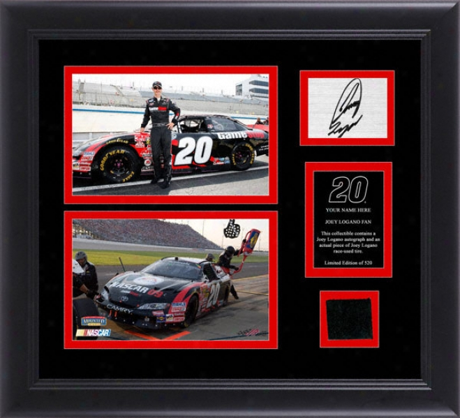 Joey Logano Framed 5x7 Photographs With Autographed Card, Chase Tire And Personalized Nameplate