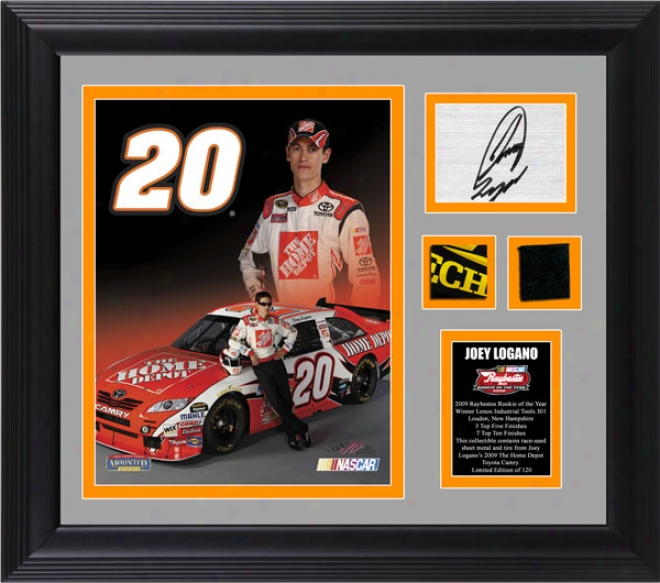 Joey Logano Nascar Rookie Of The Year Framdd 8x10 Photograph With Autograph Plate, Tire And Sheet Metal - Le Of 120
