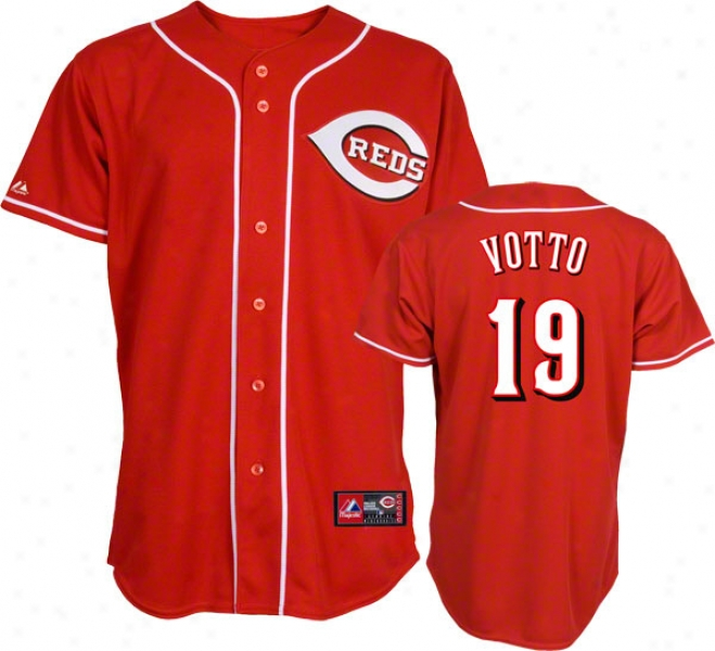 Joey Votto Jersey: Adult Majestic Alternate Red Replica #19 Cincinnati Reds Jersey