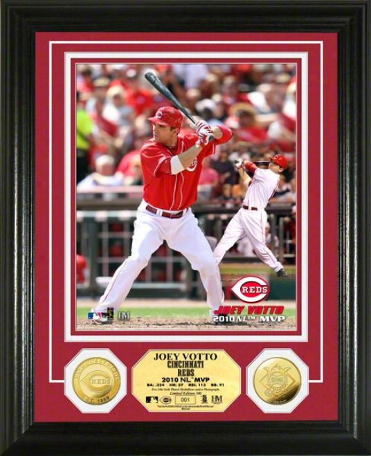 Joey Votto Photo Mint: Cincinnati Reds 2010 N.l Mvp 24k Gold Coin Photo Mint