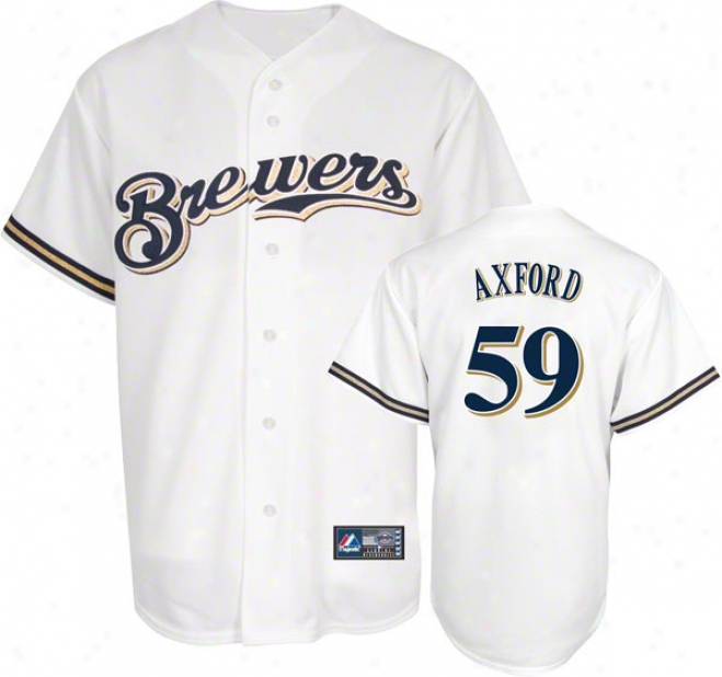 John Axford Jersey: Adult Home White Replica #59 Milwaukee Brewers Jersey