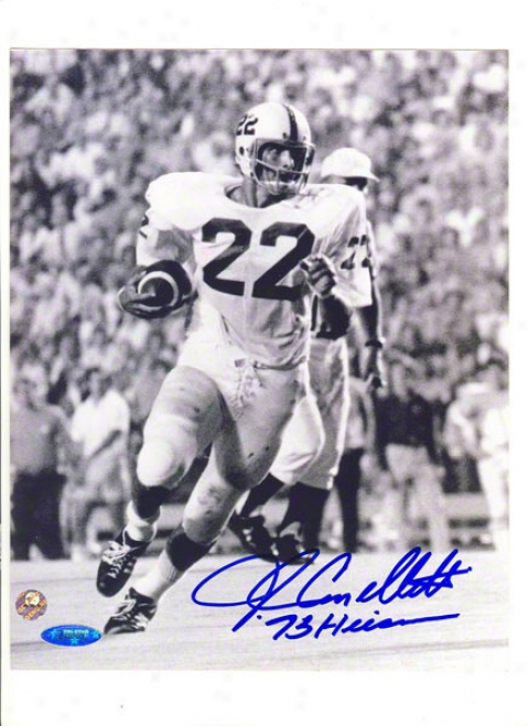John Cappelletti Autographed Penn State Black And White 8x10 Photo Inscribed &quot73 Heisman&quot