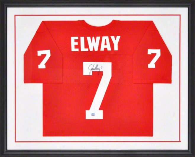 John Elway Autographed Jersey  Details: Stanford Cardinal, Framed, Red Mesh Jersey
