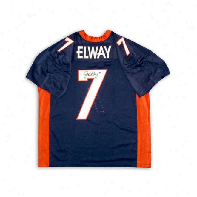John Elway Denver Broncos Autographed Blue Jersey
