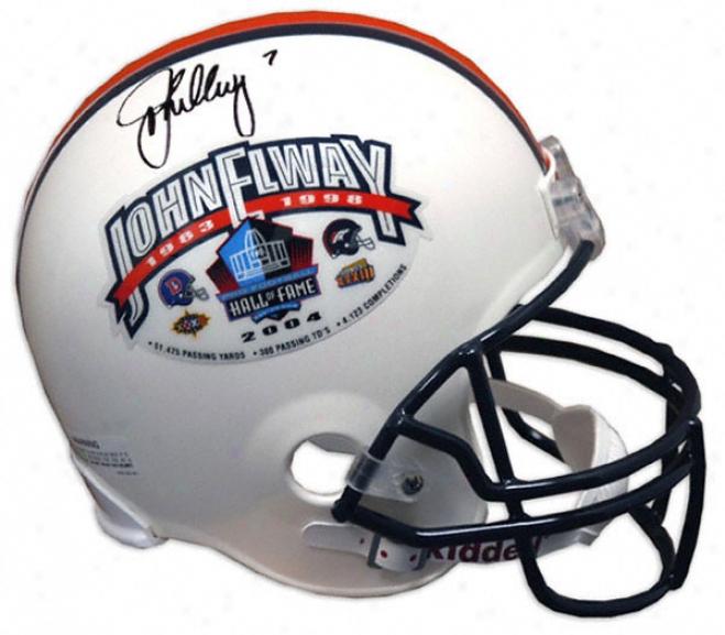 John Elway Denver Broncos Autographed Hall Of Fame Mini Helmet