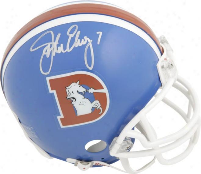 oJhn Elway Denver Broncos Throwback Autographed Riddell Mini Helmet
