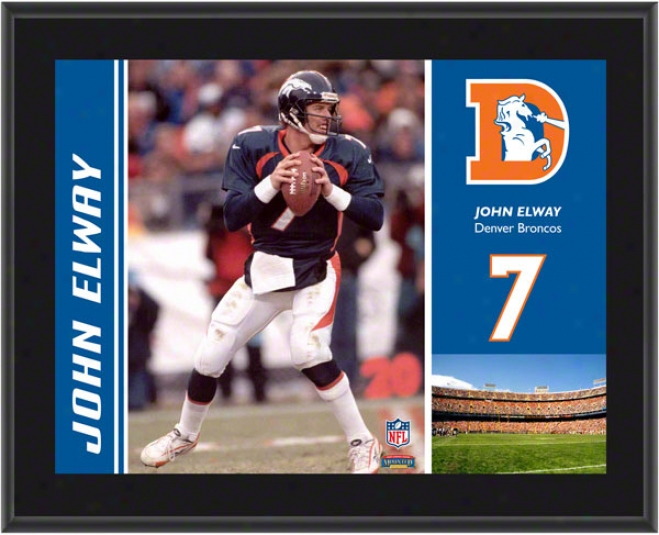 John Elway Plaque  Details: Denver Broncos, Sublimated, 10x13, Nfl Plaque