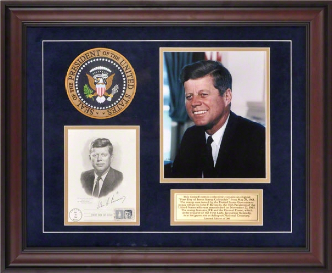 John F. Kennedy Framed Photograph  Details: 8x10, 5-29-64 1st Day Cover, Presidential Seal, Commemorative Lamina