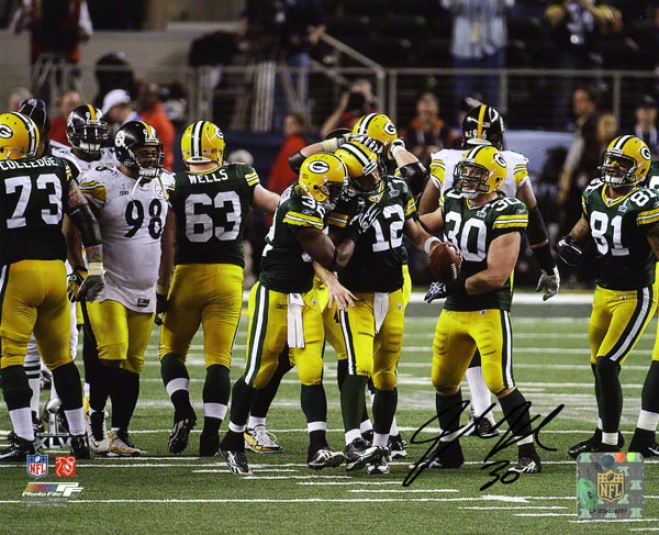 John Kuhn Autographed Photograph  Details: Unseasoned Bay Packers, Super Bowl Xlv Champions, 8x10