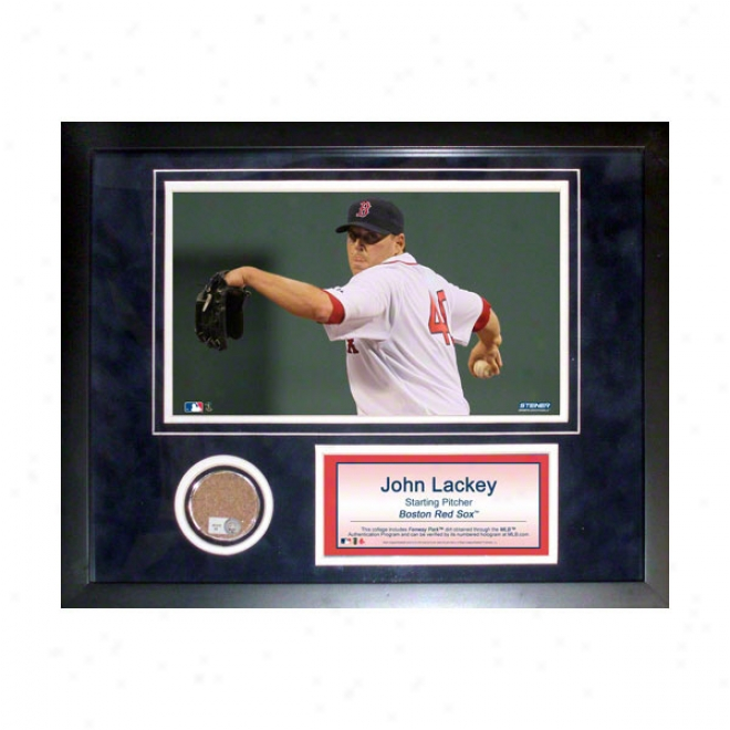 John Lackey Boston Red Sox 11x14 Framed Collage With Game Used Dirt, Photo & Namdplate
