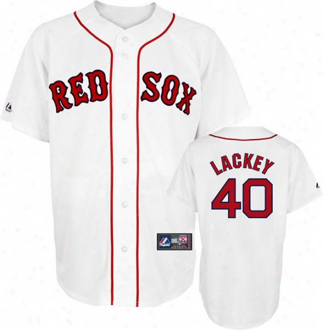 John Lackey Jersey: Adult Majestic Home White Repljca #40 Boston Red Sox Jersey