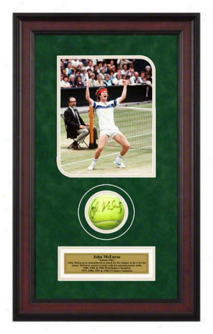 John Mcenroe 1981 Wimbledon Championships Framed Autographed Tennis Ball With Photo