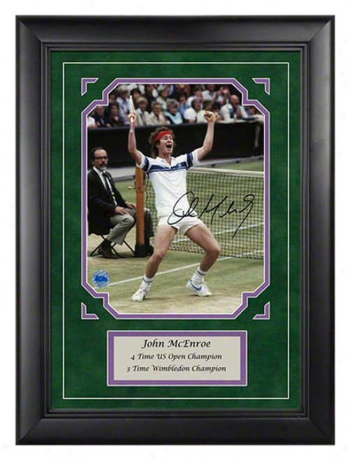 John Mcenroe Wimbledon Autographed Framed Photograph