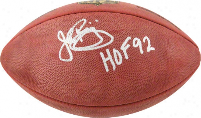 John Riggins Autographeed Football  Detaols: Washington Redskins, Hof 92 Inscription