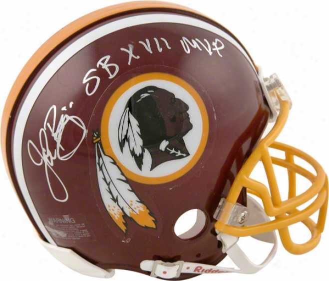 John Riggins Washington Redskins Autogrsphed Mini Helmet With Sb Xvii Mvp Inscription