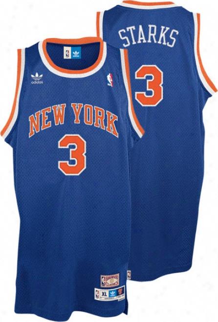 John Starks Jersey: Adidas Blue Throwback Swingman #3 New York Knicks Jersey