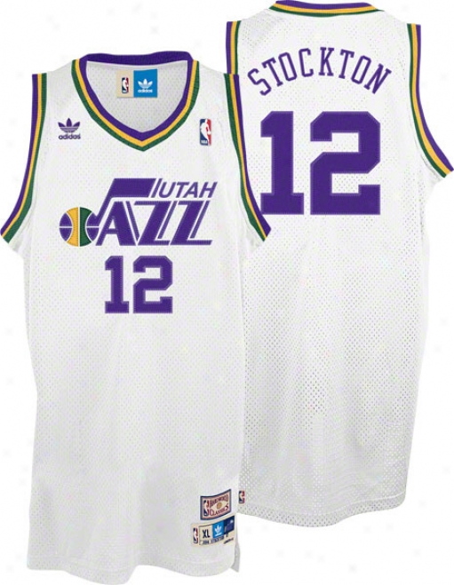 John Stockton Jeersey: Adidas White Throwback Swingman #12 Utah Jazz Jersey