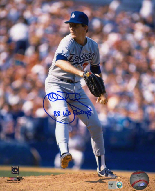 John Tudor Aitographed Photograph  Details: Los Angeles Dodgers, 8x10, 88 Ws Champs Inscription