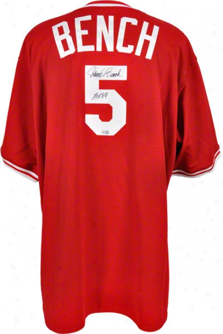 Johnny Bench Autoographed Jersey  Details: Cincinnati Reds, Majestic, Red, With &quothof 89&quot Inscription