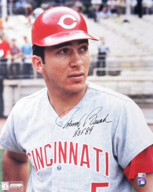 Johnny Bench Cincinnati Reds Autographed 16x20 Photograph In the opinion of Hof'89 Inscription