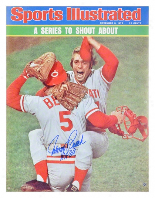 Johnny Bench Cincinnati Reda - Sports Illustrated Cover - Autographed 16x20 Photograph With Hof 89 Inscription
