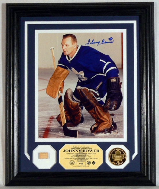 Johnny Bower Toronto Maple Leafs Autographed Photomint With 2 Gold Coins