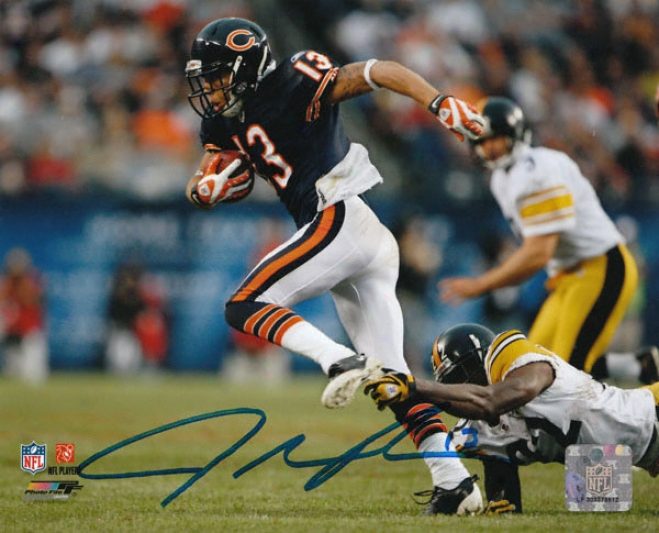 Johnny Knox Signed Photogaph: Chicago Bear Vs Steelers Autographed 8x10 Photo