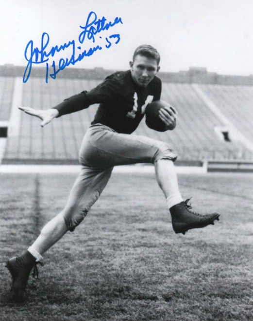 Johnny Lattner Notre Dame Fighting Irish Autographed 8x10 Photograph With Heisman '53 Inscription