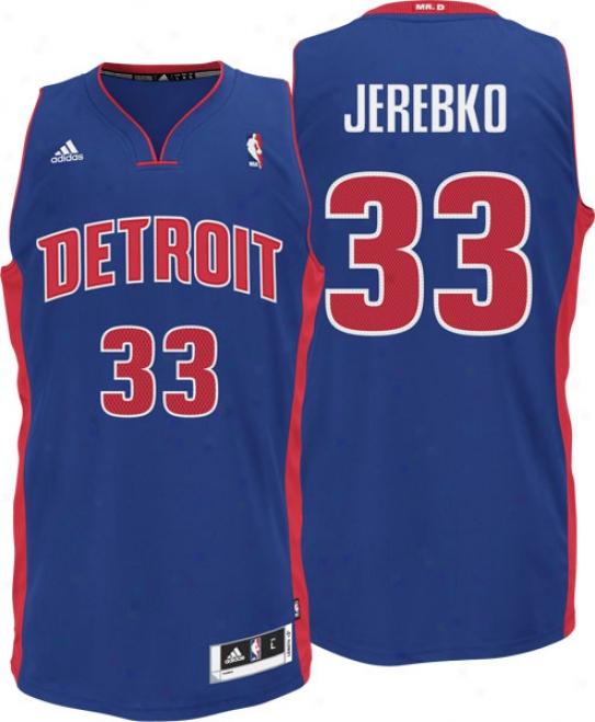 Jonas Jerebko Blue Adidas Revolution 30 Swiingman #33 Detroir Pistons Jersey