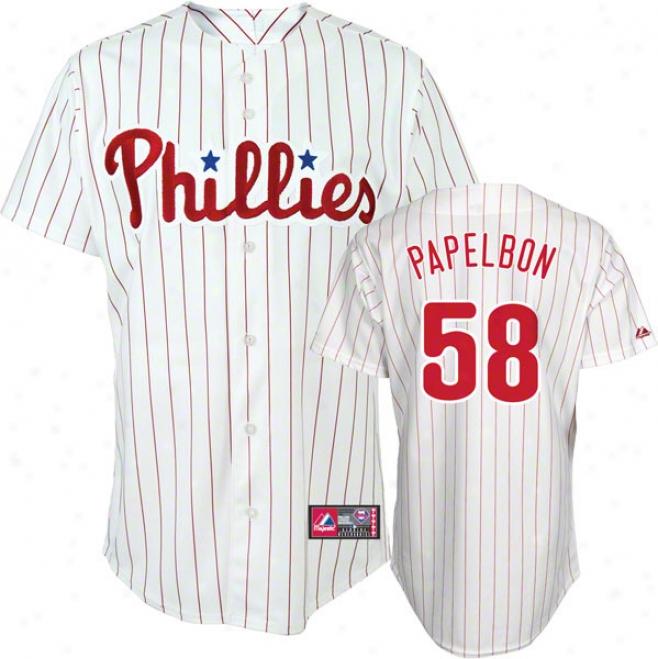 Jonathan Papelbon Jersey: Adult Majestic Home White Pinstripe Replica #58 Philadelphia Phillies Jersey