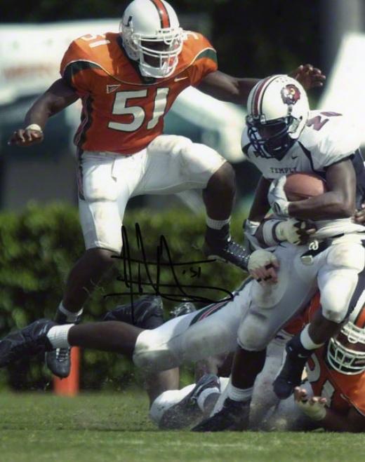 Jonathan Vilma Autographed Photograph  Details: Miami Hurricanes, Action, 8x10